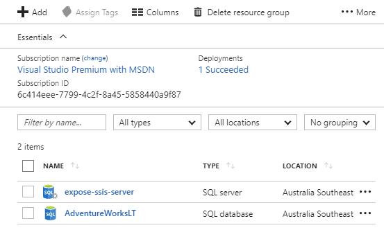 SQLDB Provisioning Screen